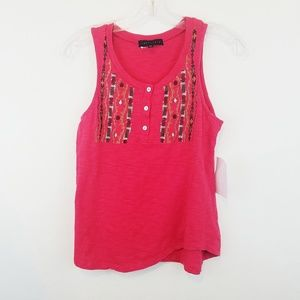 Sanctuary Knit Top Red Embroidery XS